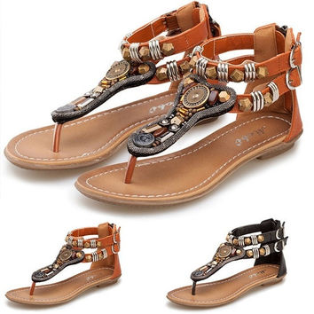 Fashion Style Roman Women Flat Ankle Metal Vintage Sandal Flip Flop Bohemia Shoes = 1928506052
