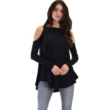 In Good Company Ribbed Cold Shoulder Long Sleeve Top