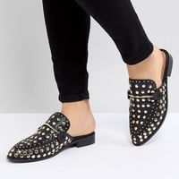 Steve Madden Laaura Black Leather Studded Flat Mules at asos.com