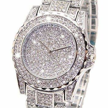 Women Watch Bling Bling Jewelry Crystal Diamond Rhinestone Ladies Watches Steel Band Round Dial Analog Clock Classic Quartz Female Charm Bracelet Dress Wristwatches Gift Ideas