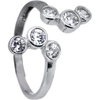 Solid 14kt White Gold Cubic Zirconia Bubbles Toe Ring