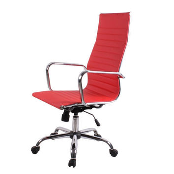 Red Eco-Leather Modern High-Back Executive Office Chair with Swivel Seat