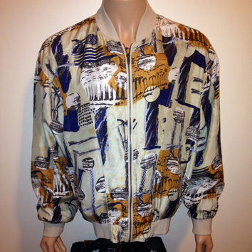 Vintage 1990s ABSTRACT GOLF Print  windbreaker Atelier Royal  graphic bomber slouch 100% Silk Jacket swag hip-hop Size XL