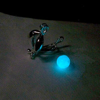 Dolphin Duo - Silver Plated Locket with Ocean Blue Magic Stone - Amazing Glow in the Dark Effects