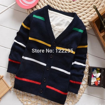 spring, the little boy sweater coat / baby knit V-neck sweater, sweater girl, autumn and winter 100% cotton sweater jacket