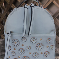 Mint Green Studded Flower Backpack Bag Violet Ray Fashion