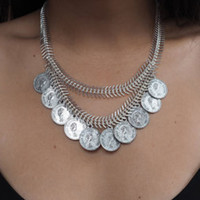 Silver Coin Chain Necklace