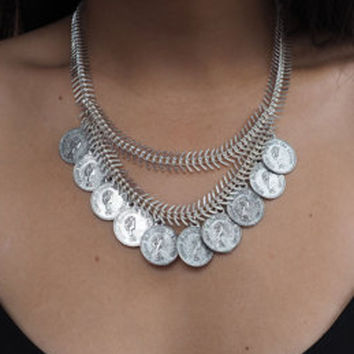 Silver Coins Statement Multirow Chain Lace