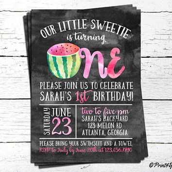 1st Birthday Watermelon Invitation // Personalized Printable First Birthday Watermelon Invitation // Fruit Invite // Watermelon Invite