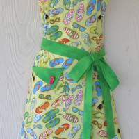 Apron, Flip Flops and Sunglasses Apron, Cute Summer Apron, Retro Full Apron, Vintage Style, Kitsch, KitschNStyle