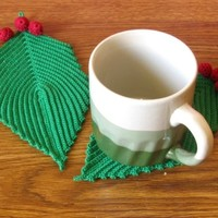 Holly Leaf with Berries Trinket Doily Coaster Pair - Winter Holiday