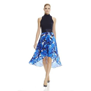 Theia Halter Neck Solid Bodice Floral Print Crepe and Silk Dress