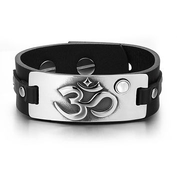 OM Ancient Tibetan Amulet Magic Powers Tag White Simulated Cats Eye Adjustable Black Leather Bracelet