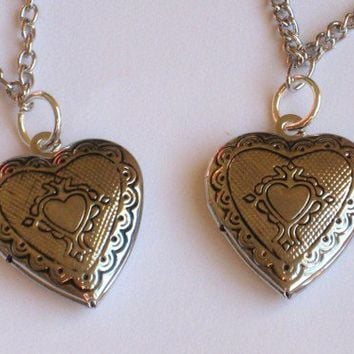 Two Friendship Best Friend or Sister Anklets with Heart Shaped Lockets