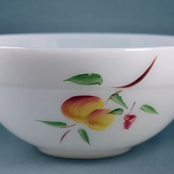 Fire King Fruits Gay Fad Hand Painted Design Colonial Mixing Bowl