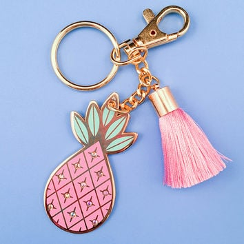 Pink Pineapple Keychain