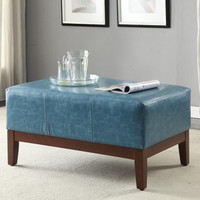 Textured Aegean Blue Leather Cocktail Bench