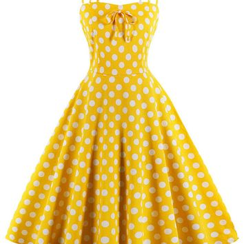 Atomic Yellow Polka Dot Summer Swing Dress