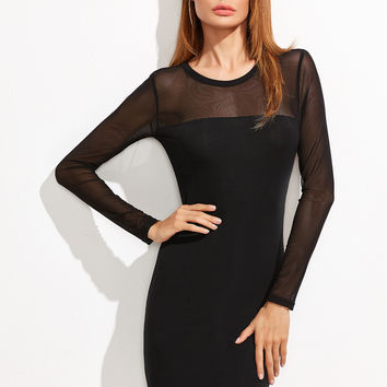 Black Sheer Long Sleeve Round Neck Dress