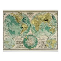 1897 Old World Map - Antique Tra