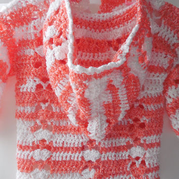 Baby Girl Hoodie Sweater - White and Orange (Melon) - 6 to 12 Months - Handmade Crochet - Ready to Ship