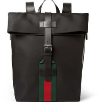 Gucci - Leather-Trimmed Canvas Backpack | MR PORTER