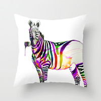 zebra painting Throw Pillow by Beart24