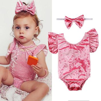 Cute Newborn Kids Baby Clothing Girls Velet Bodysuit Backless Bow Jumpsuit Flying Sleeve Outfits Summer Baby Clothes