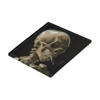 Skull with Burning Cigarette Vincent van Gogh Art Glass Coaster
