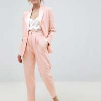 ASOS DESIGN Petite tailored contrast satin tapered PANTS at asos.com