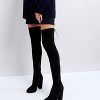 ASOS KINGSHIP SLIM Heeled Over The Knee Boots at asos.com
