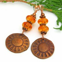 Copper Sun and Amber Handmade Earrings, Unique Beaded Artisan Jewelry