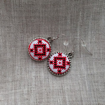 Textile ethnic jewelry. Ukrainian cross stitch round dangle earrings. Red and black geometric embroidery. FREE SHIPPING WORLDWIDE! E3.