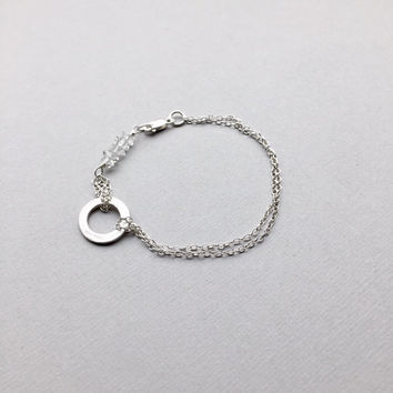 Circle of Life bracelet, Herkimer Bar, Karma Charm, Delicate Silver Eternity Layering Bracelet, Modern Minimalist Jewelry, Gifts for Women