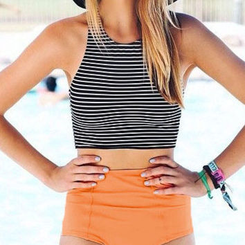 Striped Top With Bikini Swimwear