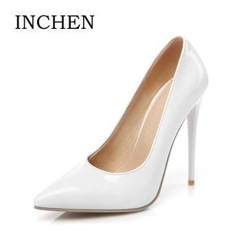 INCHEN 12cm sexy extreme high thin heels woman pumps 2017 new arrivals PU pointed toe