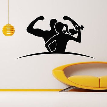 WALL DECAL VINYL STICKER SPORT GYM FITNESS BODY-BUILDING GIRL DECOR SB837