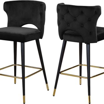Kelly Black Velvet Stool (set of 2)