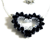 Swarovski Crystal Necklace Open Heart