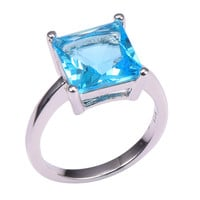 Classic Style Aquamarine 925 Sterling Silver Wedding Party Fashion Design Romantic Ring  Size 5 6 7 8 9 10 11 12 PR36