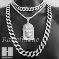 "Hip Hop Iced Out Jesus Pendant 16"" Iced Out Choker 18"" Tennis 30"" Cuban Chain 2S"