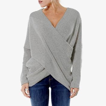 FANALA Sexy Autumn and Winter Women Pullover Sweaters female Drop-Shoulder Cross Wrap Sweater thickening sweater top thread slim