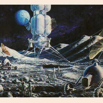 On the Moon (Artist A. Sokolov) Vintage Postcard - Printed in the USSR, «The Fine Arts», Moscow, 1980