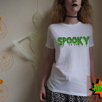 Spooky Halloween T Shirt Green Black Holographic Lettering Costume Fancy Dress Party Trick or Treat Scary Horror Outfit S M L XL