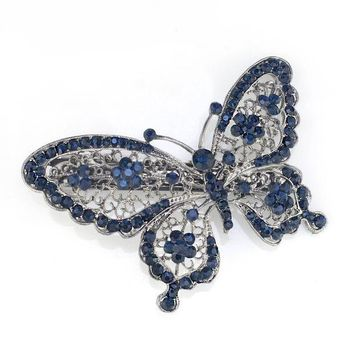 CREYET7 Amazing Butterfly Hairpin Blue Crystal Headwear Barrette Hair Clip Headwear Accessories Jewelry For Woman Girls