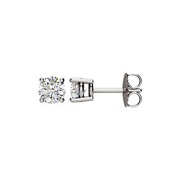 Round 1.0 Cttw Basket Style Diamond Stud Earrings in 14k White Gold