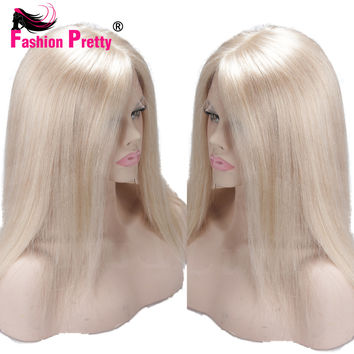 Virgin Indian Silky Straight Lace Front Human Hair wigs Pure Blonde #60