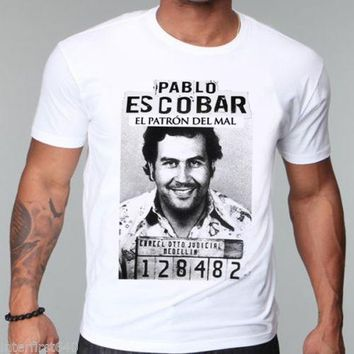 NARCOS gangster, Pablo escobar Shout Sleeve t shirt,  weed, mafia, scareface, Luciano, Capon Men T-shirt Cotton Top Tees