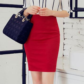 Women's Summer Casual Solid Above Knee Bodycon Mini Or Midi Pencil Skirt