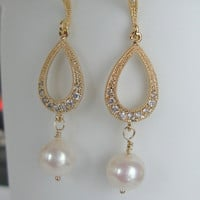 Wedding Jewelry Chandelier earrings or bridesmaid gift Vermeil gold Cz crystal tear drop and AAA freshwater pearls